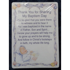 Baptism Card Set, Thank You for sharing my Baptism Day