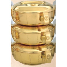 Ciboria, 3 piece Stacking set Gold with Vertical lines