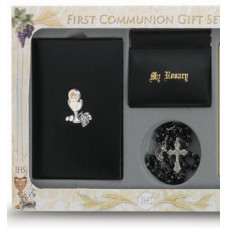 Communion Missal and Rosary Set, Raised Chalice Premier Boxed Set in black