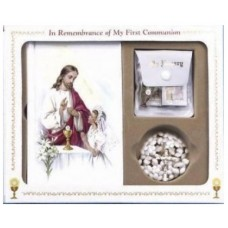 Communion Missal and Rosary Set, Jesus & Girl Classic Boxed Set  RED ROBE