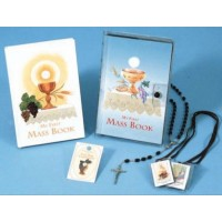 First Communion Missal and Rosary Set, White Eucharist Vinyl Wallet Set