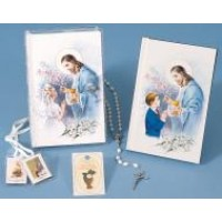 First Communion Missal and Rosary Set,Good Shepard Vinyl Wallet Set