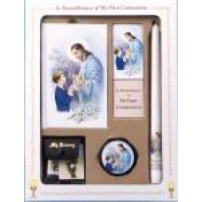 Communion Missal and Rosary Set, Good Shepard Deluxe Boxed Set in black