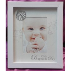 Frame, White Wood Baptism  Frame with Metal Shell