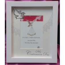 Frame, White Wood Confirmation  Frame with Metal Dove