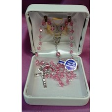 Rosary, Sterling Silver with Pink Crystal & Pearl Beads,