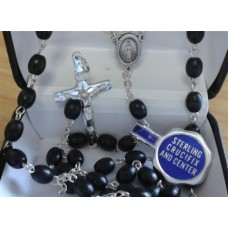 Rosary, Sterling Silver with Wood Beads,
