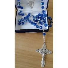 Rosary, Sterling Silver with Royal Blue Beads,
