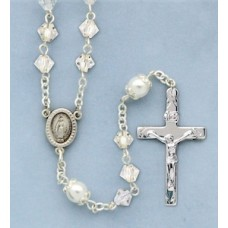 Rosary, Sterling Silver with Crystal & Pearl Beads,