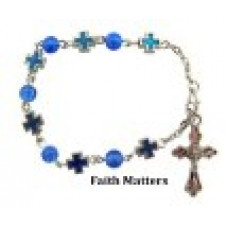 Blue Cross & Chrystal Bracelet, Set of 12