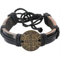 Benedictine Cross Leather Bracelet