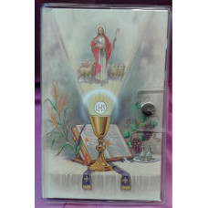 First Communion Missal and Rosary Set, Altar & Good Shepard Clear Vinyl Wallet Set