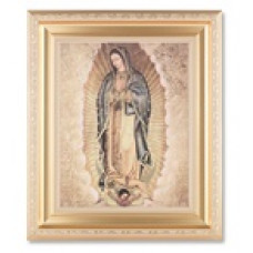 Picture, Our Lady of Guadalupe, gold satin frame
