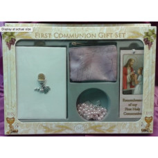 Communion Missal, & Bookmark Boxed Set, Pink Rosary & Case