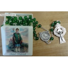 Rosary, Saint Patrick Square Rosary Box and Rosary