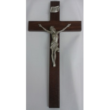 "Crucifix, Walnut Wood Cross, 10""H"