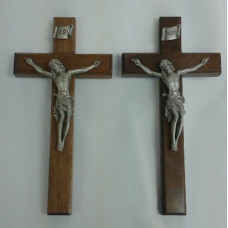 "Crucifix, Oak or Walnut Wood Cross, 10""H"