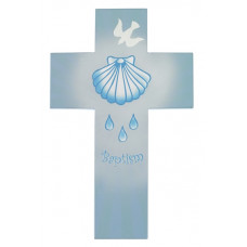 Baptism Cross, Pink or Blue Wooden Cross