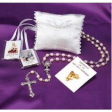 Communion White Satin Rosary Set