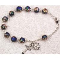 Bracelet, Blue Cloisonne Flower Rosary Bracelet