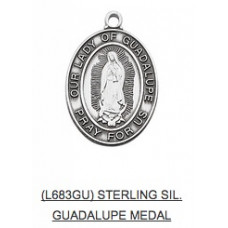Our Lady Of Guadalupe, Pray for Us, Sterling Silver Medal with Chain