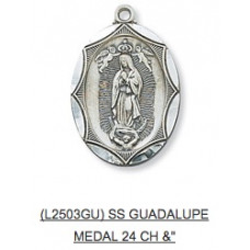 Our Lady Of Guadalupe, Sterling Silver Medal with Chain