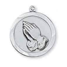 Praying Hands, Sterling Silver Round