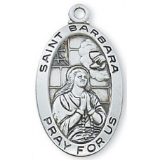 Saint Barbara, Sterling Silver Oval