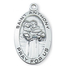 Saint Anthony Sterling Silver Oval
