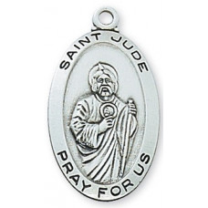 Saint Jude Sterling Silver Oval
