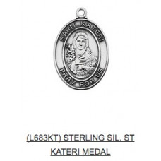 Saint Sterling Silver Medal with Chain , Choose Saint