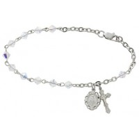Bracelet, Swarovski Diamond Shaped Crystal Rosary Bracelet,