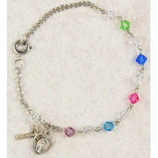 Bracelet, Swarovski Multi Color Crystal Rosary Bracelet