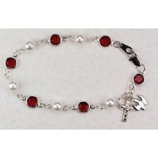 Bracelet, Swarovski Red Crystal & Pearl Holy Spirit Rosary Bracelet