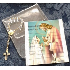 Rosary, One Decade Rosary and Girl Communion Card