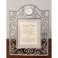Framed Serenity Prayer with Clock