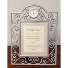 Framed Serenity Prayer with Clock