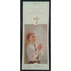 Pin, Cross on Boy's Communion Card
