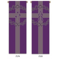 Church Banner, Lent, Alpha-Omega & Crown of Thorns