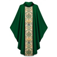 Vestment, Chasuble with Tapestry Center band and velvet collar