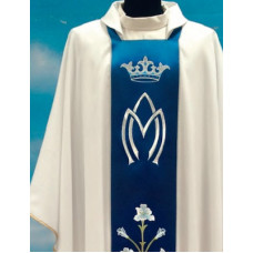Vestment, Chasuble Marian with Crown and Rose, White /Blue panel