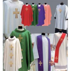 Vestment, Chasuble Embroidered Cross, Plain neck