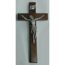 "Crucifix, Walnut Wood Cross, 15""H"