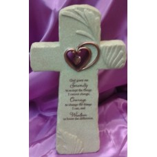 Cross, Serenity Prayer with Heart