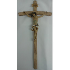 Crucifix, Hand Carved Natural Wood  18""