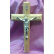 "Crucifix, Oak or Walnut Wood Cross, 11""H"