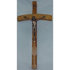 "Crucifix, Curved Oak Wood Cross, 12""H"