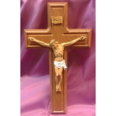"Crucifix, Oak Cross, 10""H"