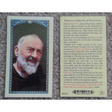 Padre Pio Laminated Prayer Cards, set of 12