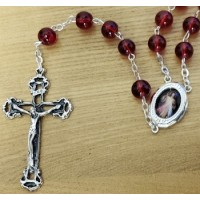 Rosary, Large Red  Pearled Beads, Sacred Heart Center